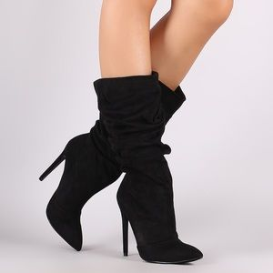 Cute Slouchy Pointy Toe Stiletto Mid Calf Boots
